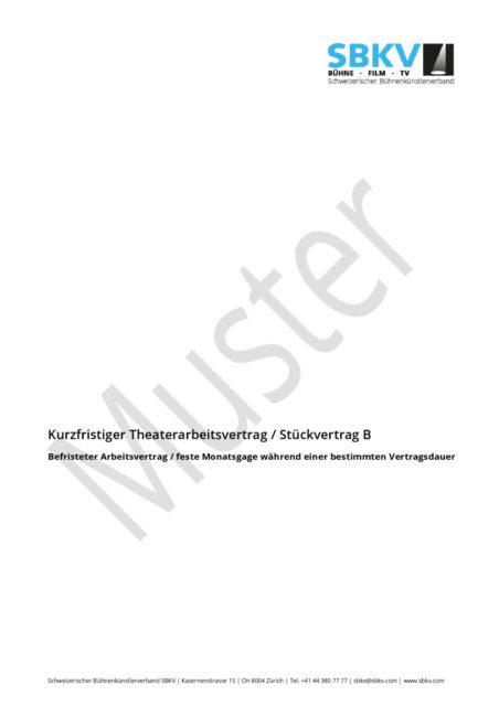 Theater Arbeitsverträge Schweizerischer Bühnenkünstlerverband