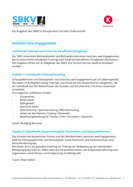 thumbnail of Ein Angebot des SBKV in Kooperation mit dem Kulturmarkt