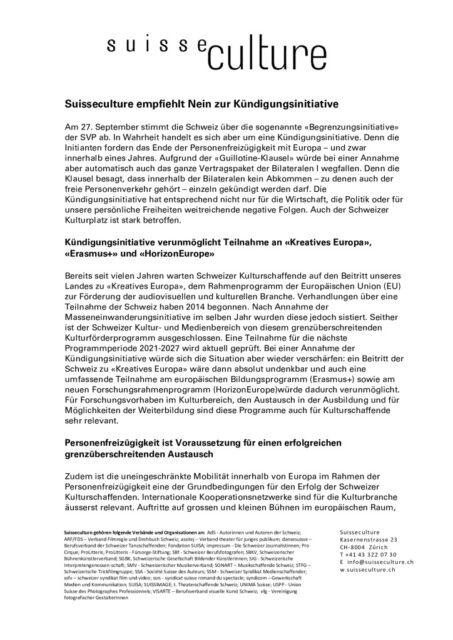 thumbnail of 20200904 Argumentarium Nein zur Kuendigungsinitiative Suisseculture