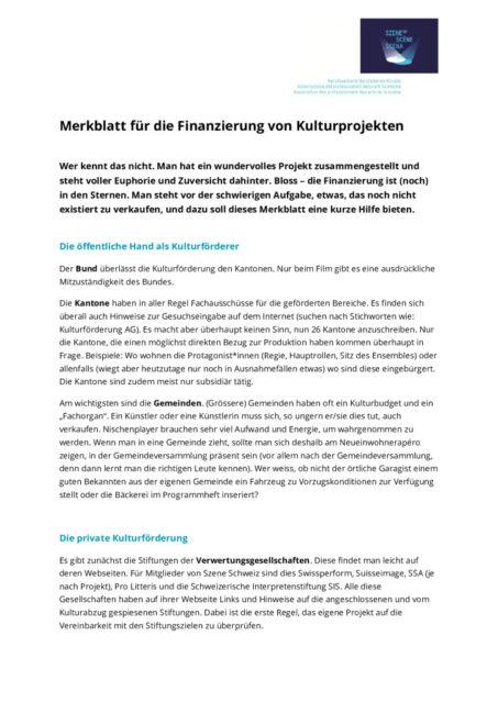thumbnail of Merkblatt_Kulturförderung SzeneCH 2021
